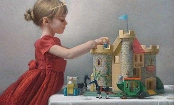 min nutid: barn leker med riddarborgen