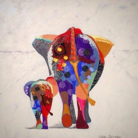 min nutid: elefant mamma och barn med färg