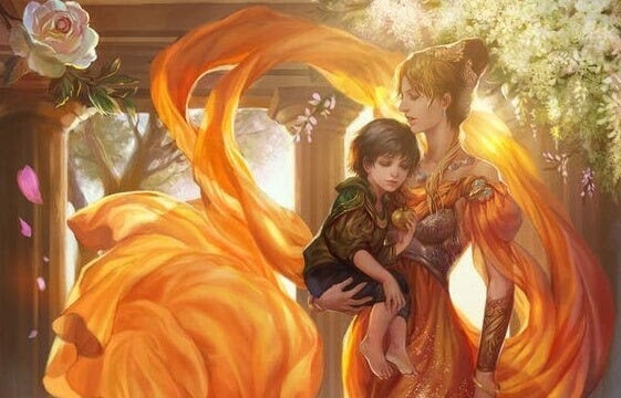 magiska varelser: mor håller barn