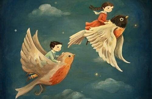 magiska varelser: barn flyger på fåglar