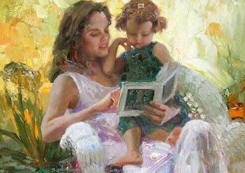 magiska varelser: mamma läser för barn