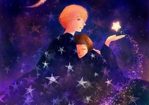 svaghet: förälder håller barn och stjärna