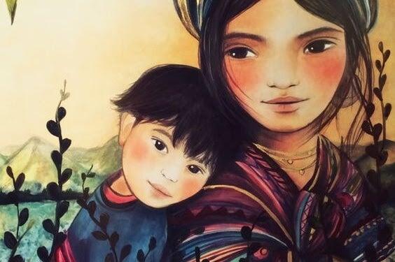 svaghet: mamma och barn