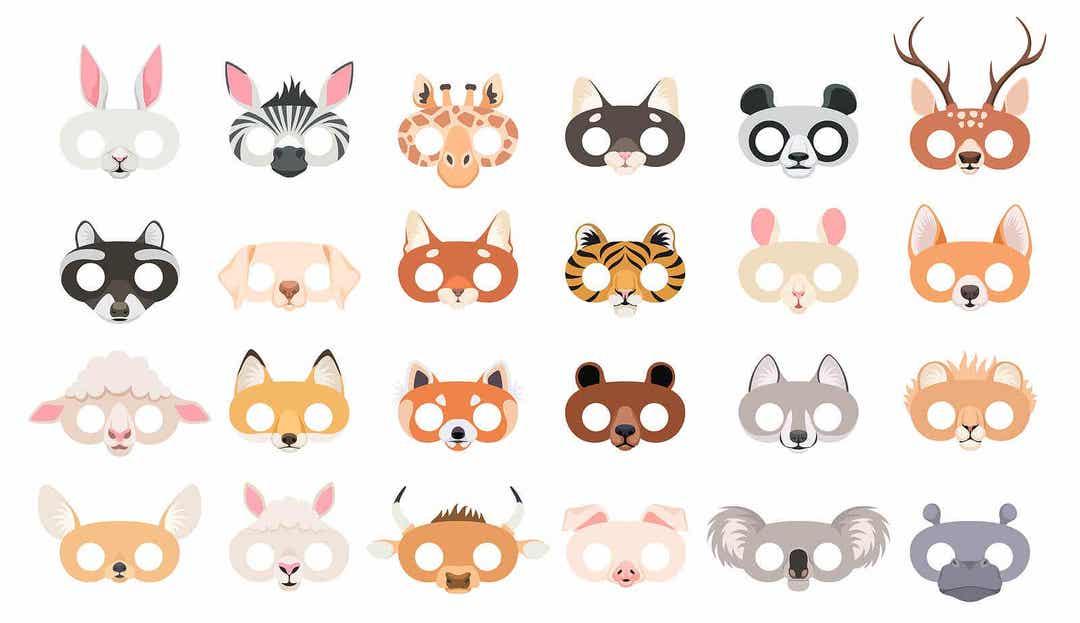djurpyssel för barn: ansiktsmasker