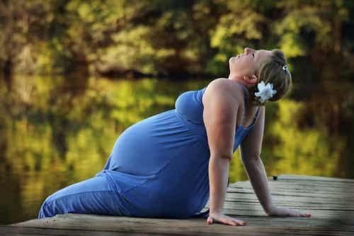 din baby gör i livmodern: gravid kvinna