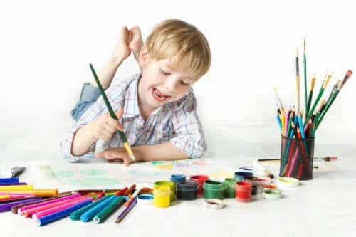 låda för starka känslor: pojke målar